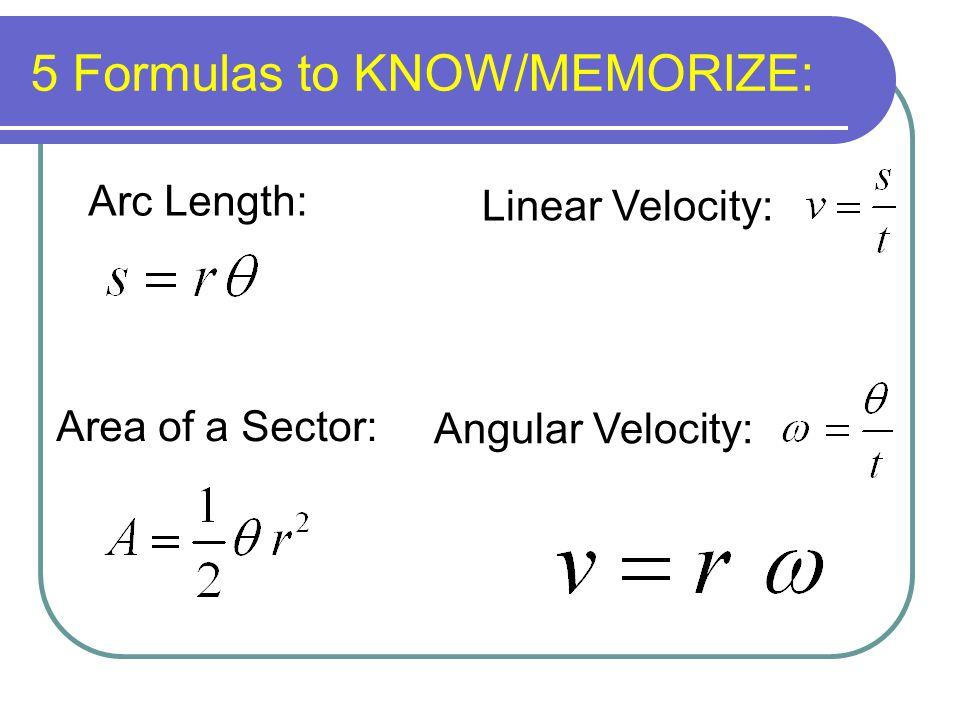 5 Formulas to KNOW/MEMORIZE: