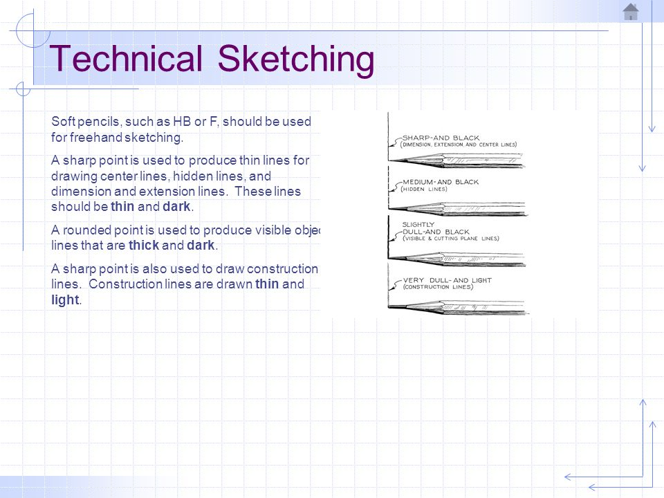 Technical Sketching Soft pencils, such as HB or F, should be used for freehand sketching.
