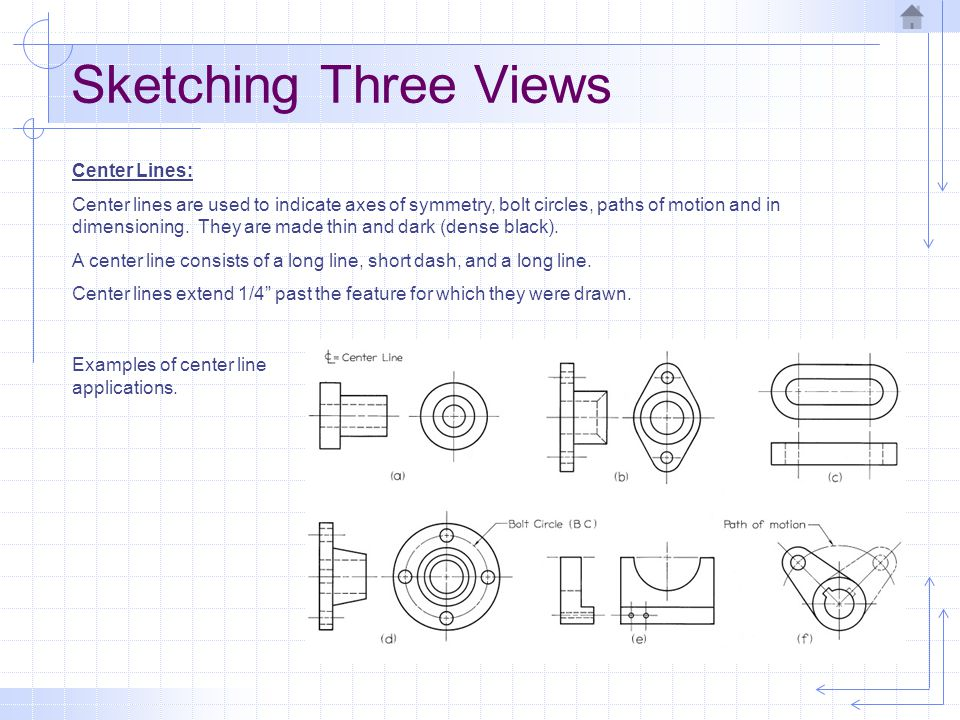 Sketching Three Views Center Lines: