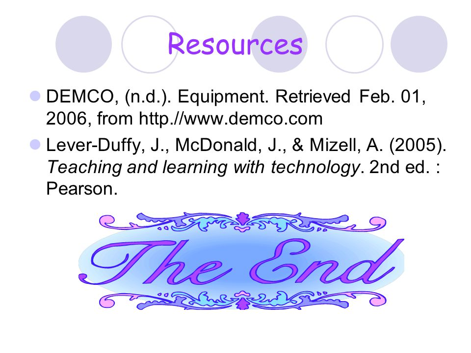 Resources DEMCO, (n.d.). Equipment. Retrieved Feb. 01, 2006, from http.//www.demco.com.