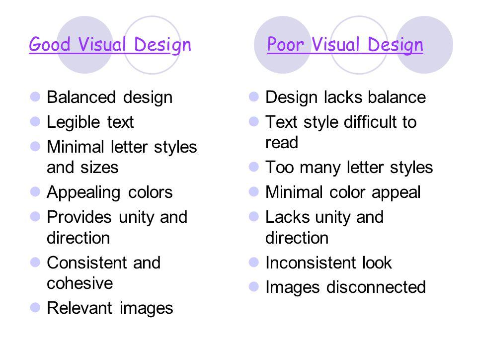 Good Visual Desi gn Poor Visual Design
