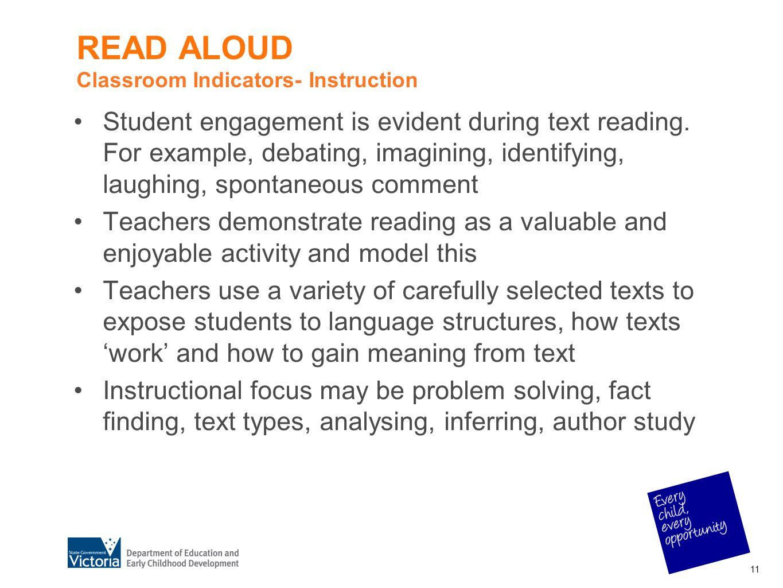 READ ALOUD Classroom Indicators- Instruction