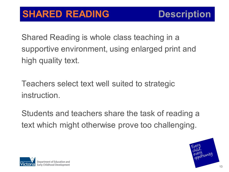 SHARED READING Description