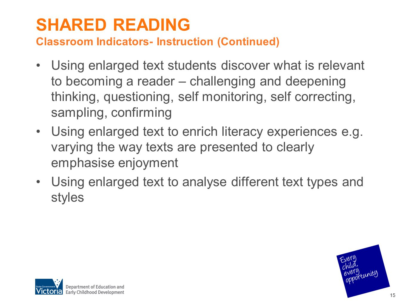 SHARED READING Classroom Indicators- Instruction (Continued)