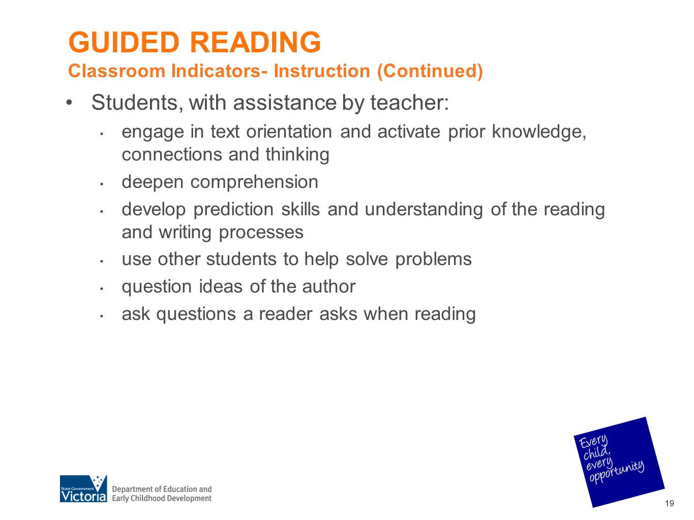 GUIDED READING Classroom Indicators- Instruction (Continued)