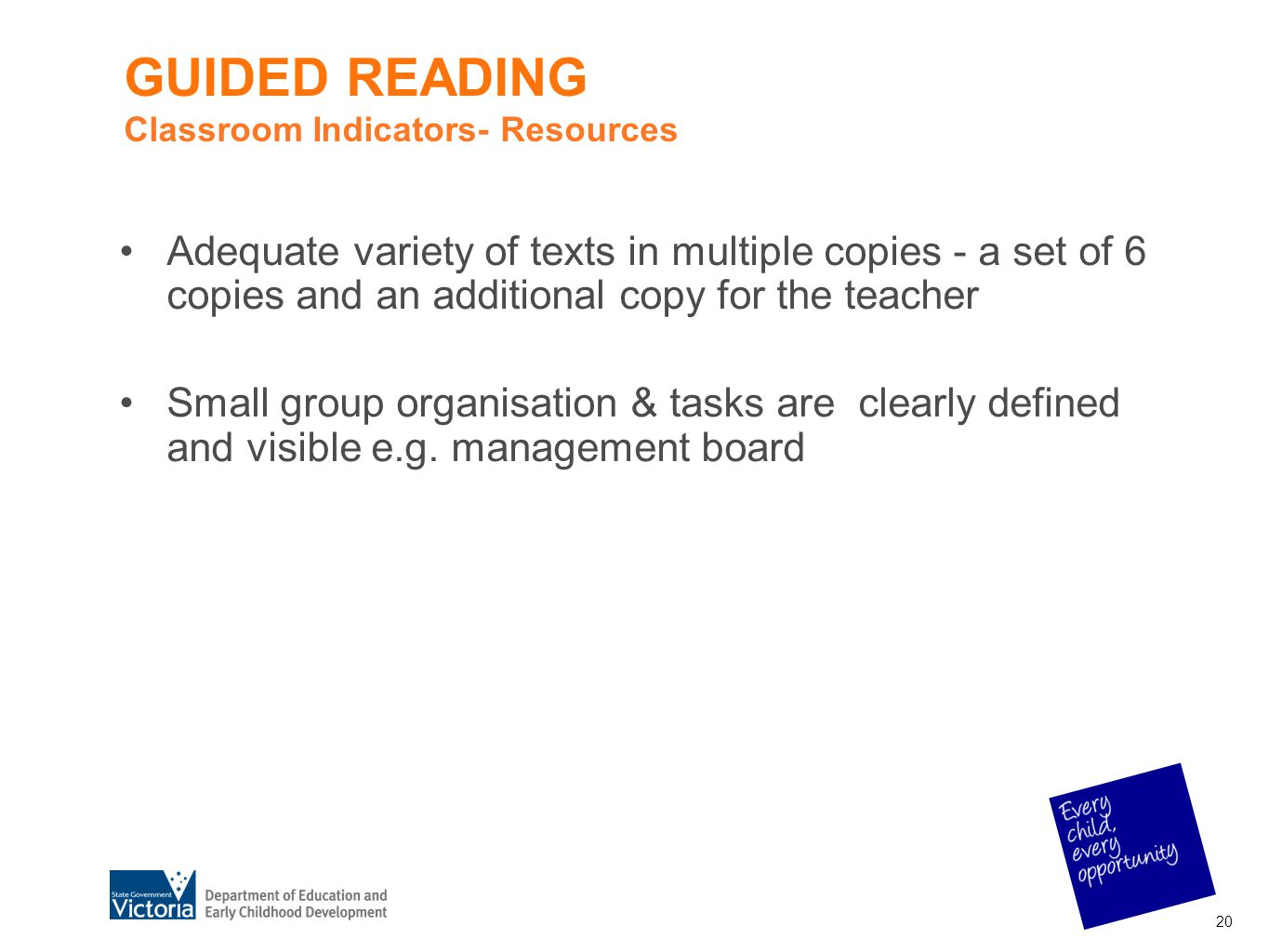GUIDED READING Classroom Indicators- Resources