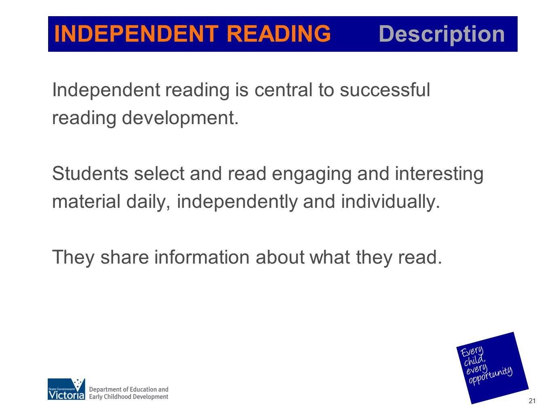 INDEPENDENT READING Description
