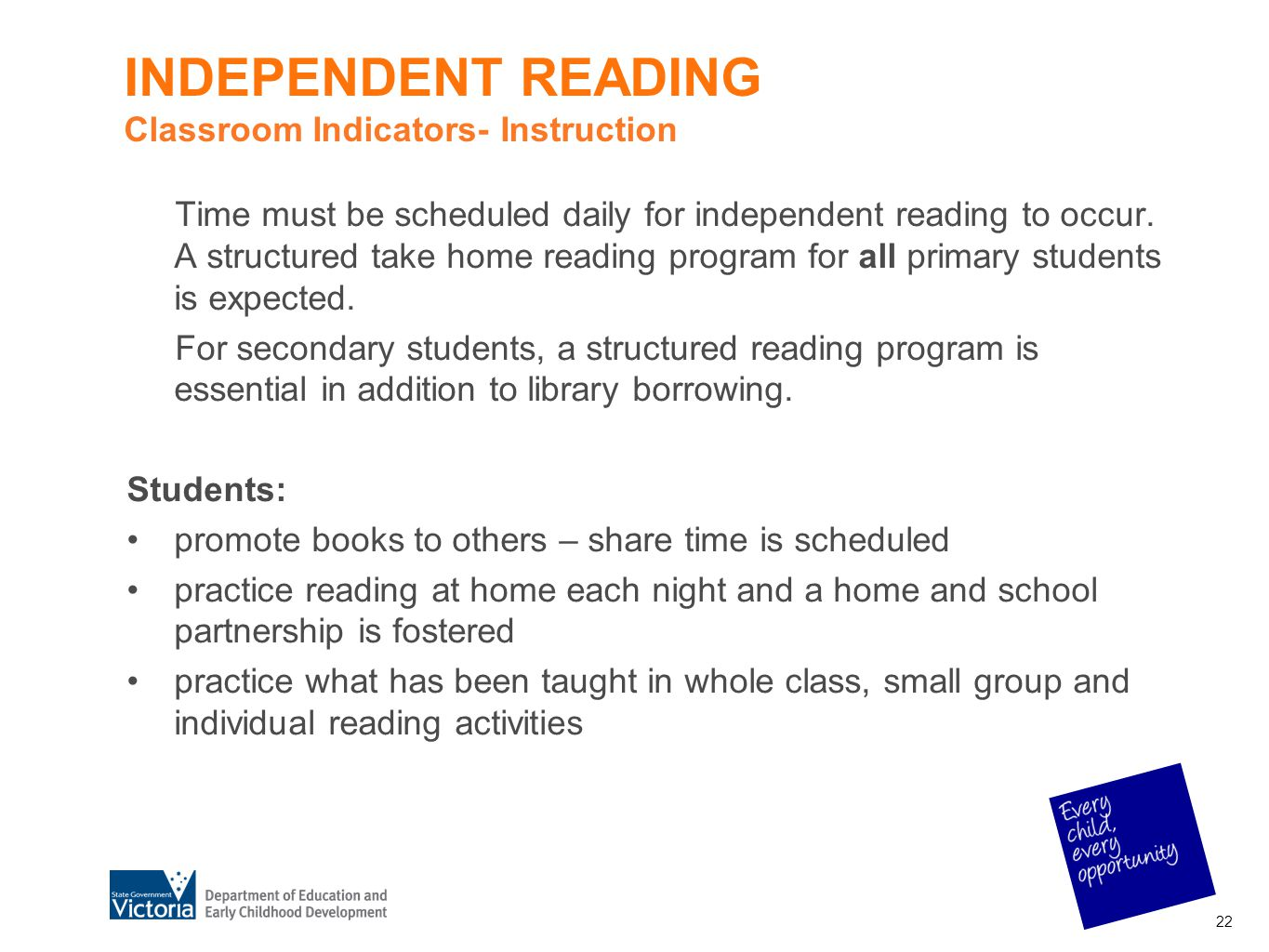 INDEPENDENT READING Classroom Indicators- Instruction
