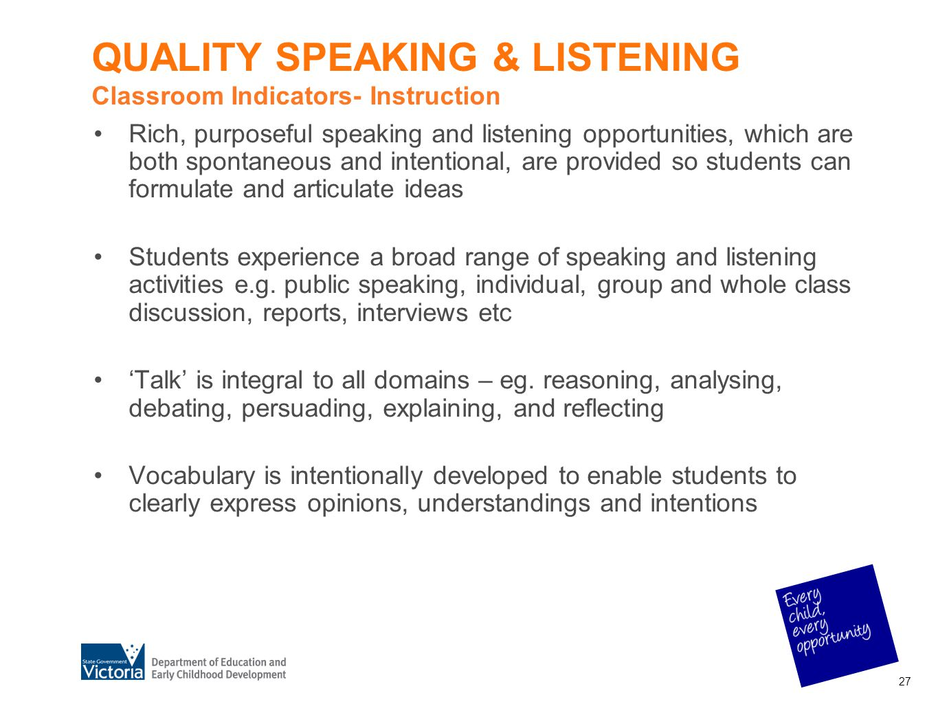 QUALITY SPEAKING & LISTENING Classroom Indicators- Instruction