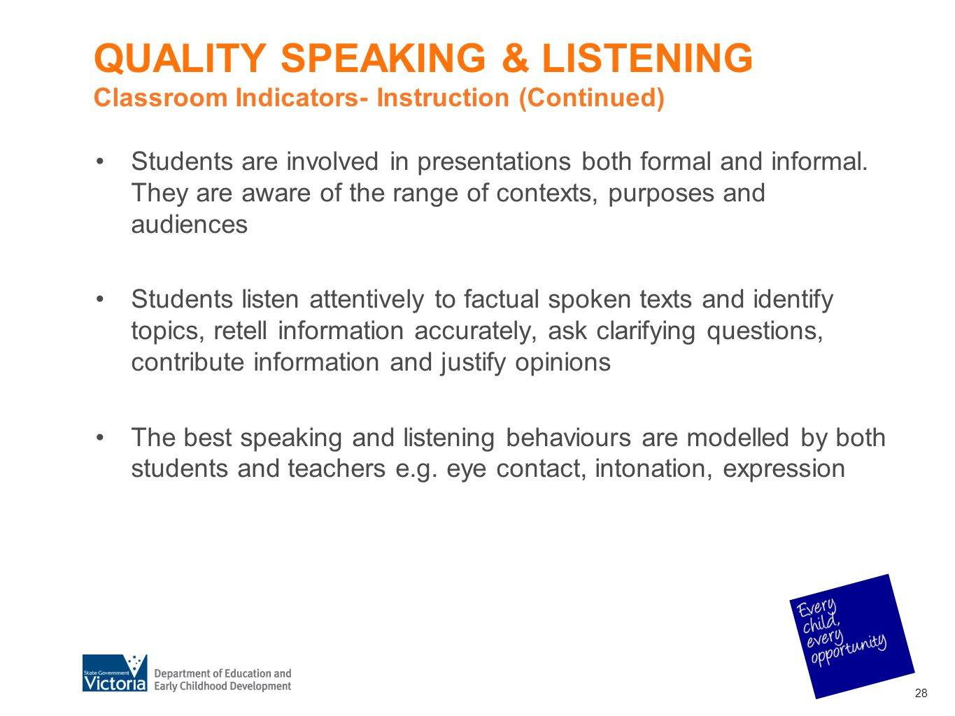 QUALITY SPEAKING & LISTENING Classroom Indicators- Instruction (Continued)
