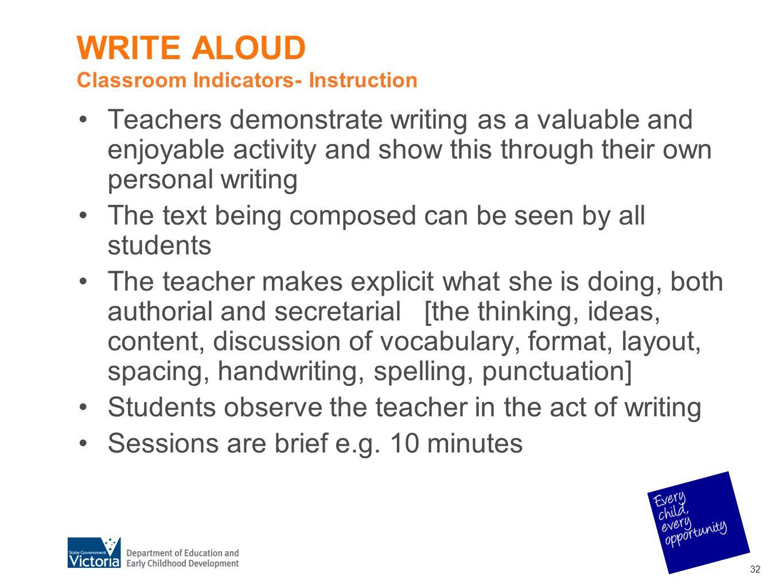 WRITE ALOUD Classroom Indicators- Instruction