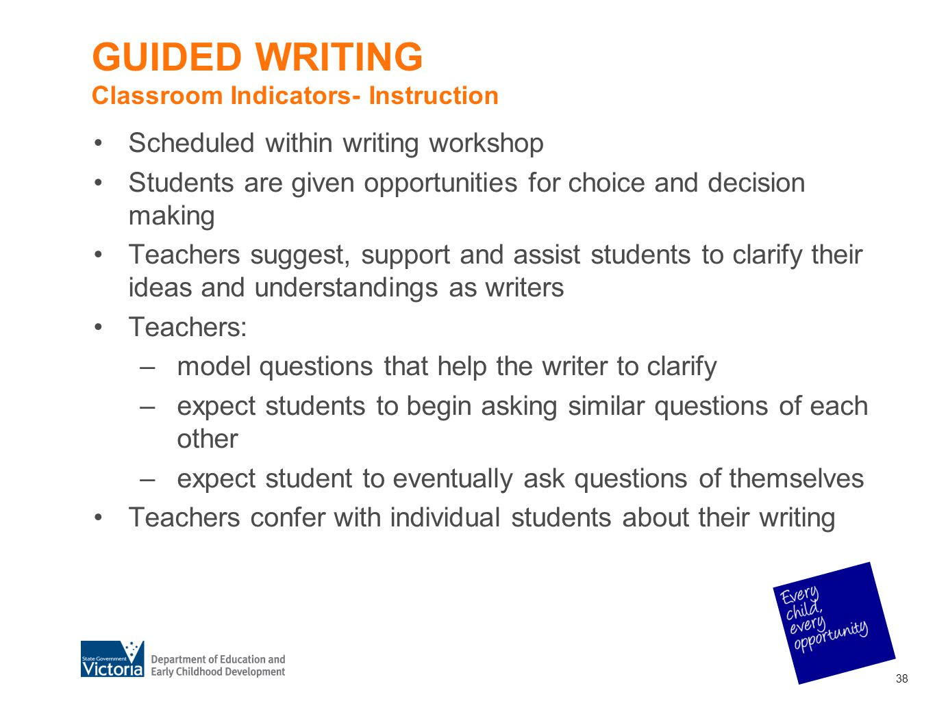 GUIDED WRITING Classroom Indicators- Instruction