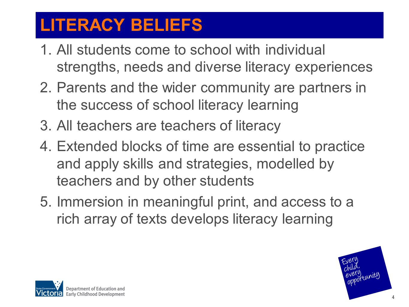LITERACY BELIEFS All students come to school with individual strengths, needs and diverse literacy experiences.