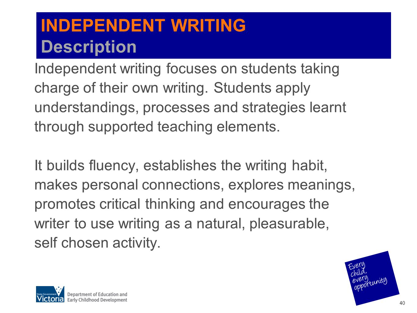 INDEPENDENT WRITING Description