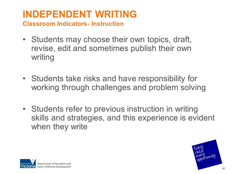 INDEPENDENT WRITING Classroom Indicators- Instruction