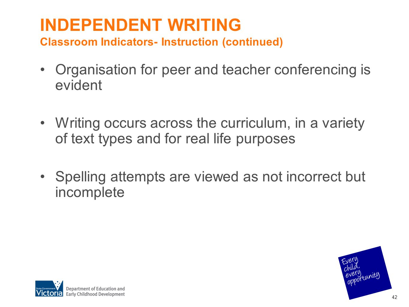INDEPENDENT WRITING Classroom Indicators- Instruction (continued)