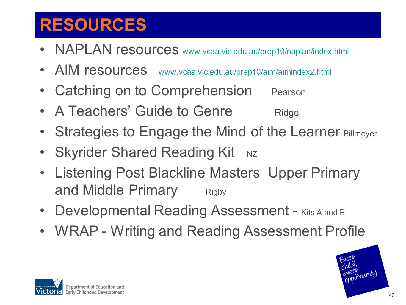 RESOURCES NAPLAN resources www.vcaa.vic.edu.au/prep10/naplan/index.html. AIM resources www.vcaa.vic.edu.au/prep10/aim/aimindex2.html.