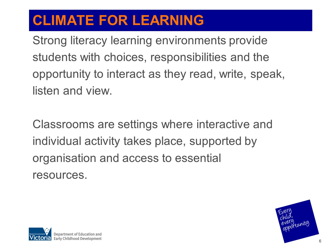 CLIMATE FOR LEARNING Strong literacy learning environments provide