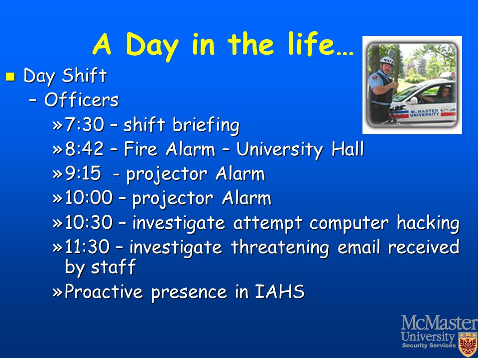 A Day in the life… Day Shift Officers 7:30 – shift briefing