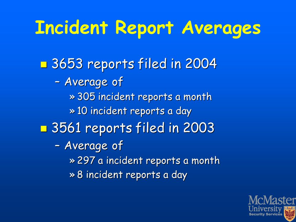 Incident Report Averages