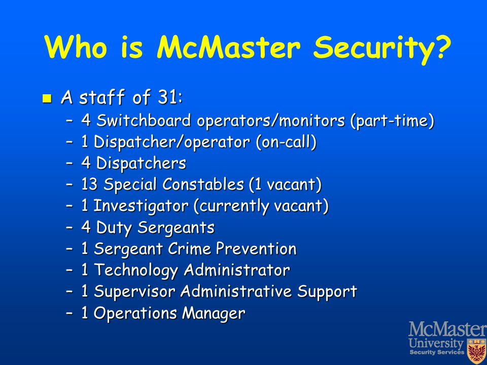 Who is McMaster Security