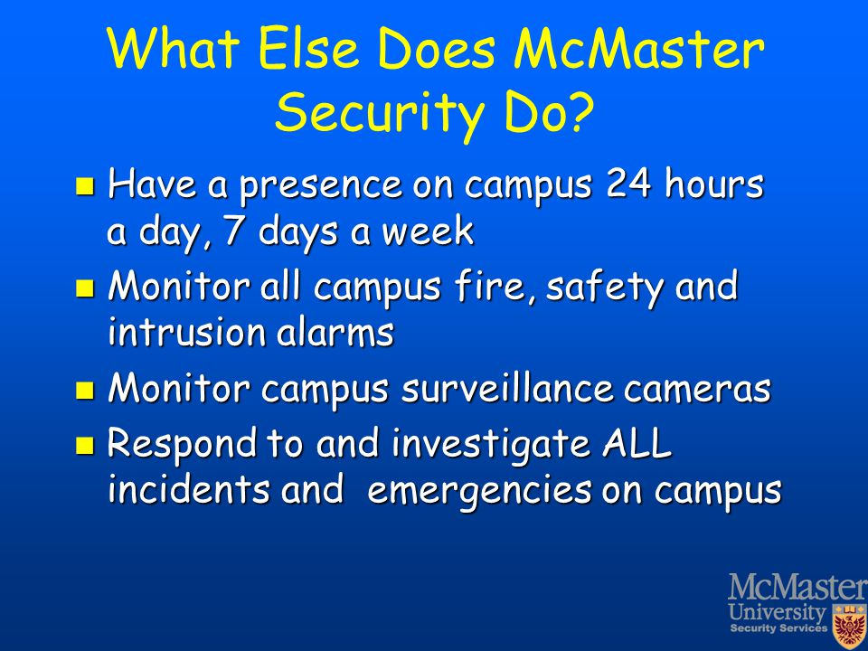 What Else Does McMaster Security Do