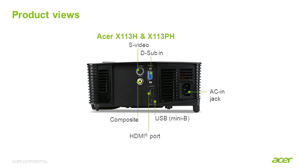 Specifications Model name Acer X113H Acer X113PH Display panel