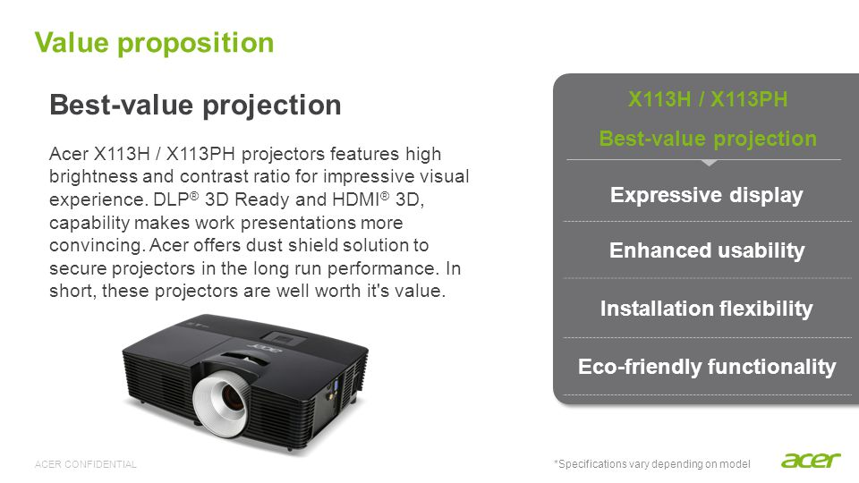Key selling points Best-value projection Expressive projection