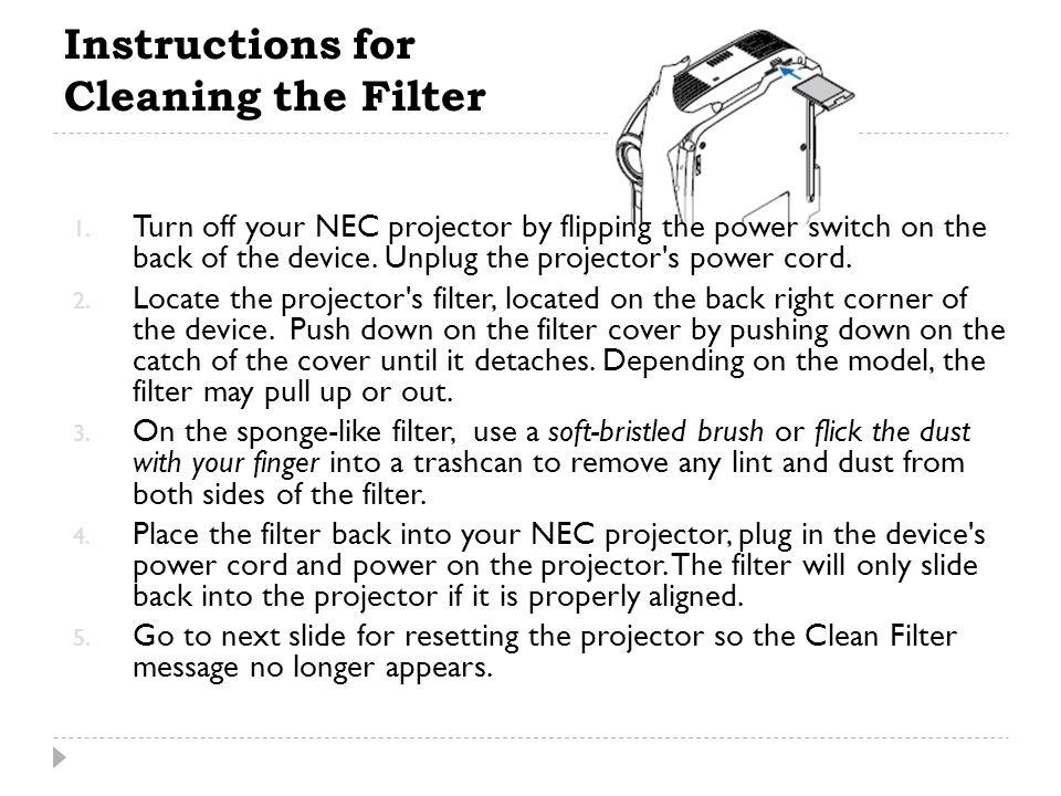 Instructions for Cleaning the Filter