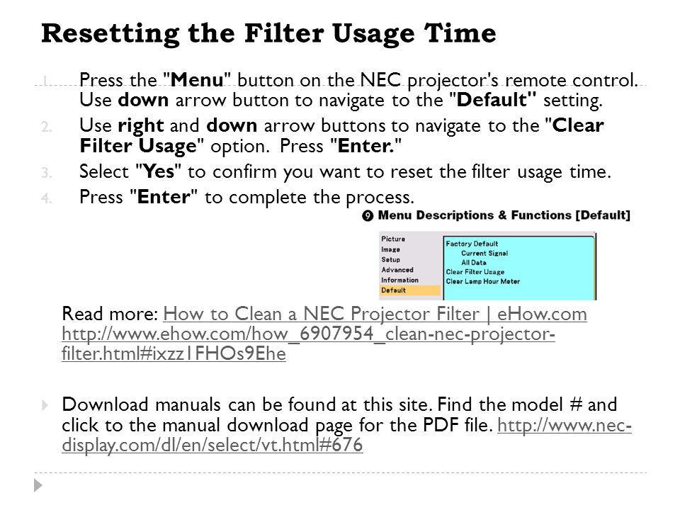 Resetting the Filter Usage Time