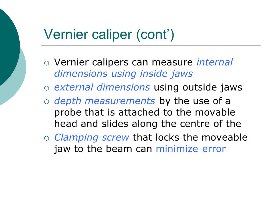Vernier caliper (cont')