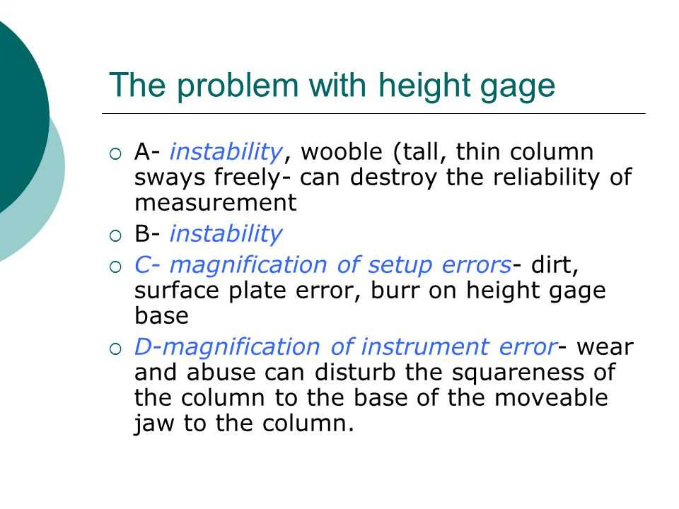 The problem with height gage