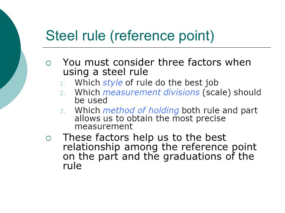 Steel rule (reference point)