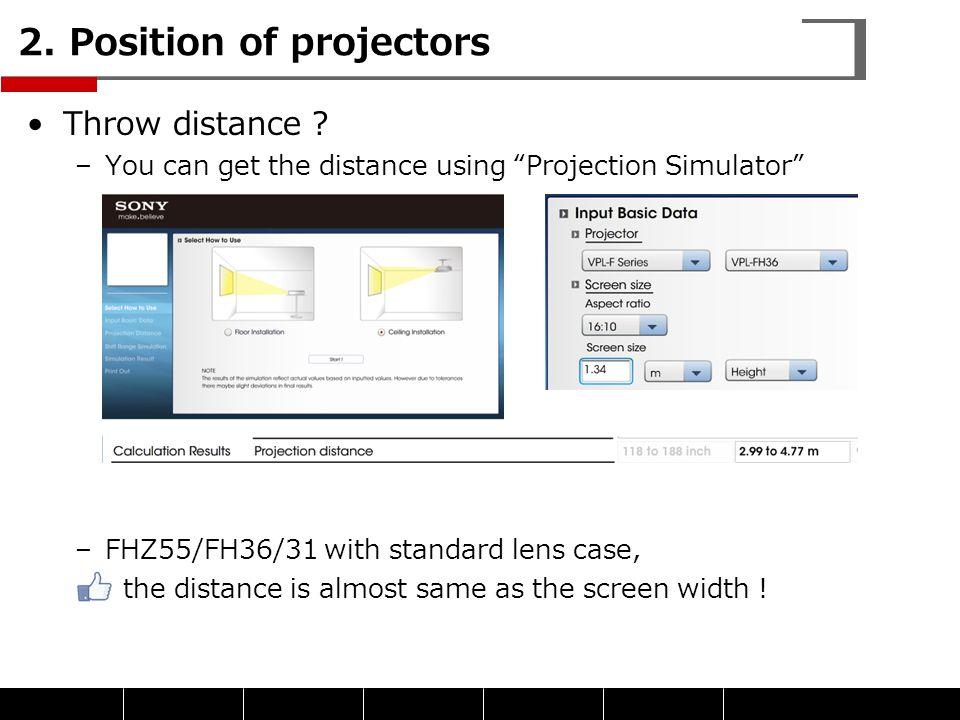 2. Position of projectors