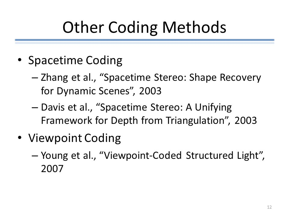 Other Coding Methods Spacetime Coding Viewpoint Coding