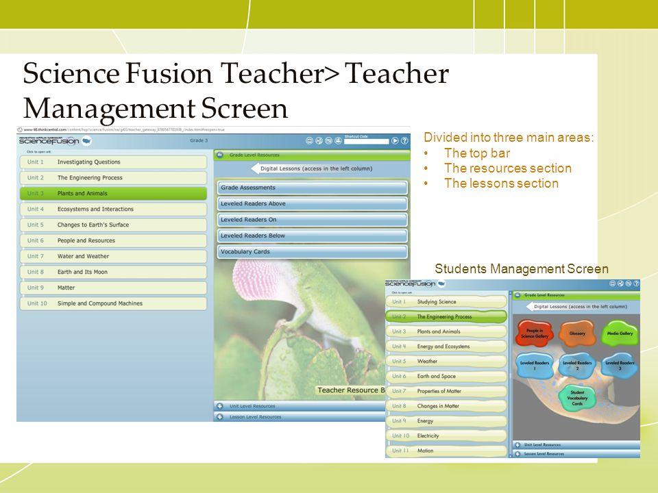 Science Fusion Teacher> Teacher Management Screen