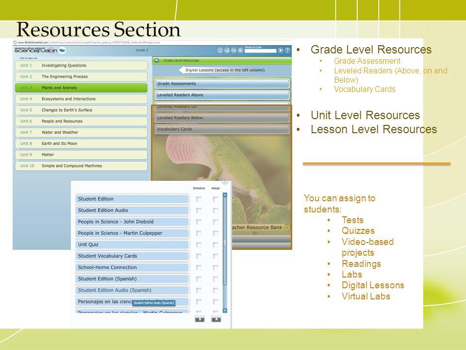 Resources Section Grade Level Resources Unit Level Resources