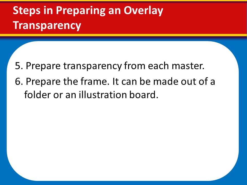 Steps in Preparing an Overlay Transparency