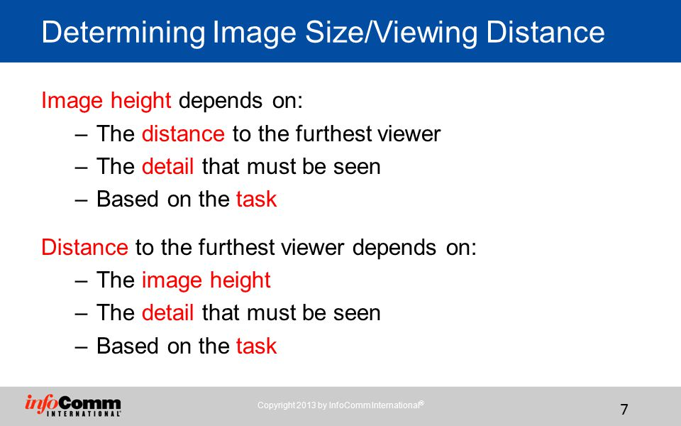 Determining Image Size/Viewing Distance