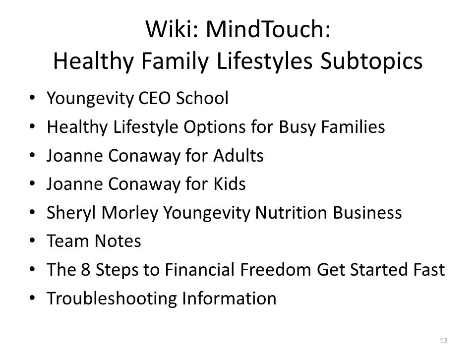 Wiki: MindTouch: Healthy Family Lifestyles Subtopics