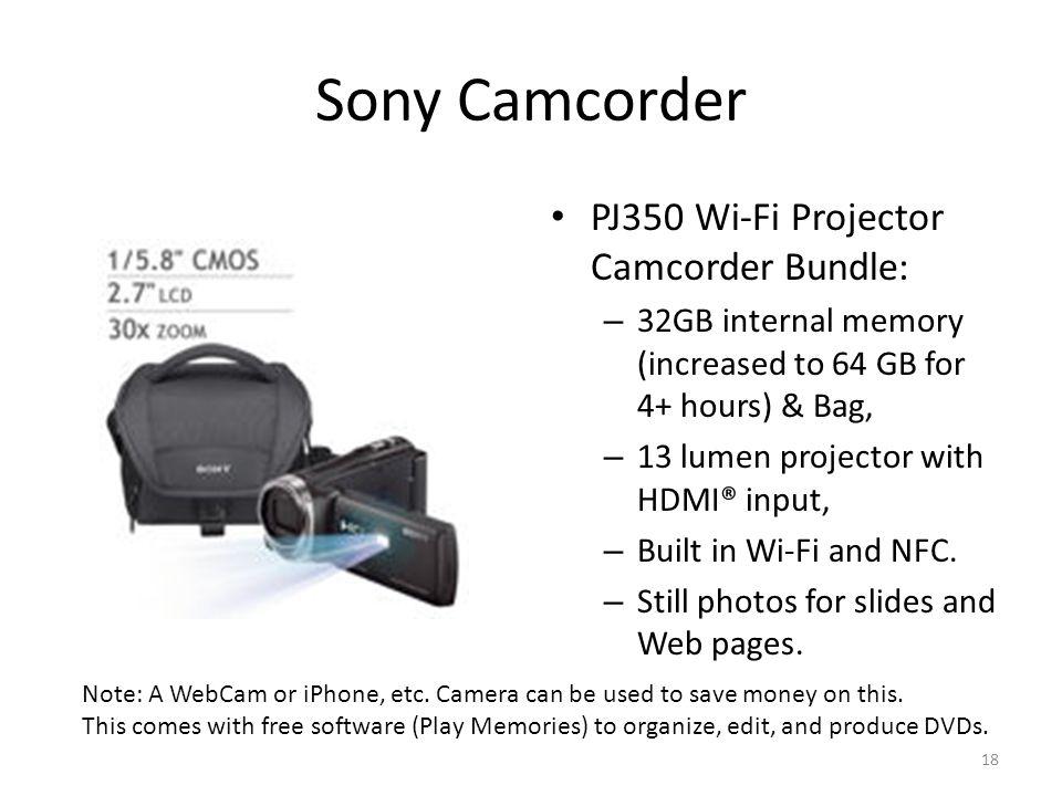 Sony Camcorder PJ350 Wi-Fi Projector Camcorder Bundle: