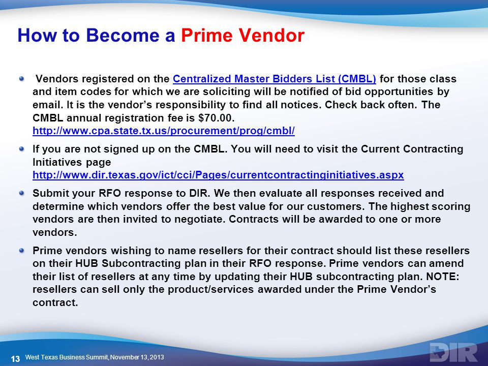 How to Become a Prime Vendor