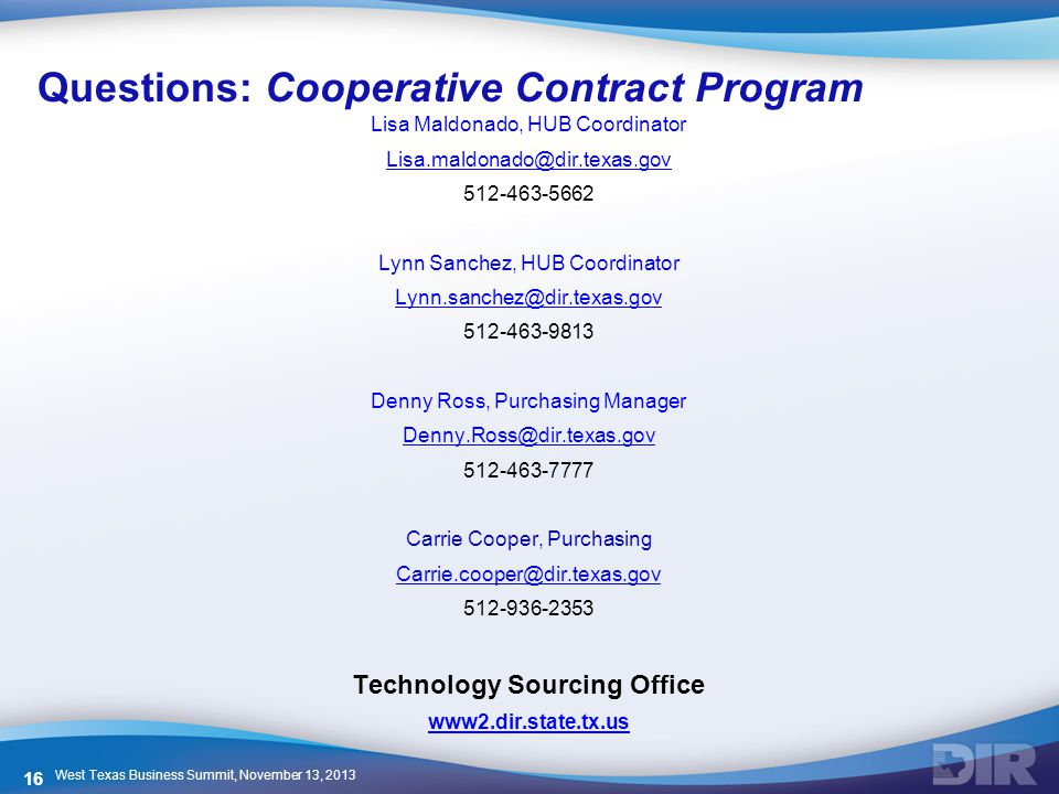 Questions: Cooperative Contract Program