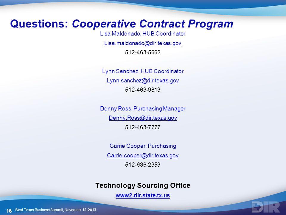 Questions: Cooperative Contract Program