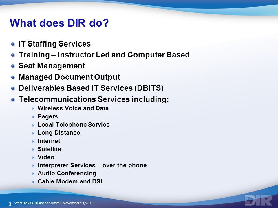 What does DIR do IT Staffing Services