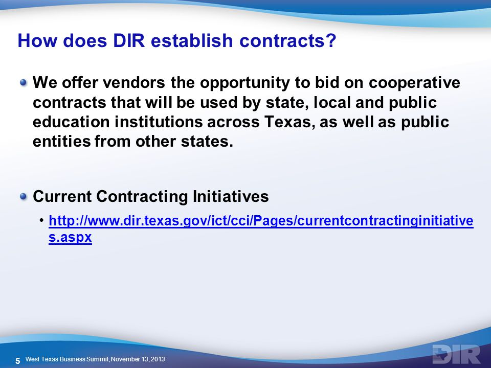 How does DIR establish contracts