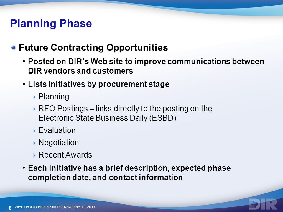 Planning Phase Future Contracting Opportunities