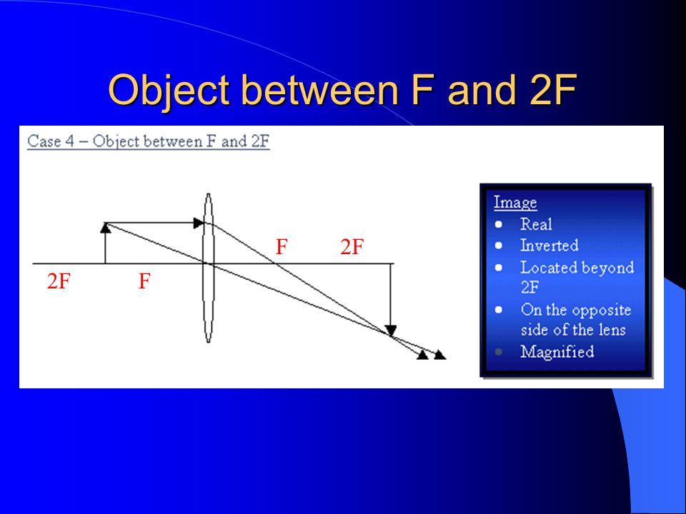 Object between F and 2F F 2F 2F F