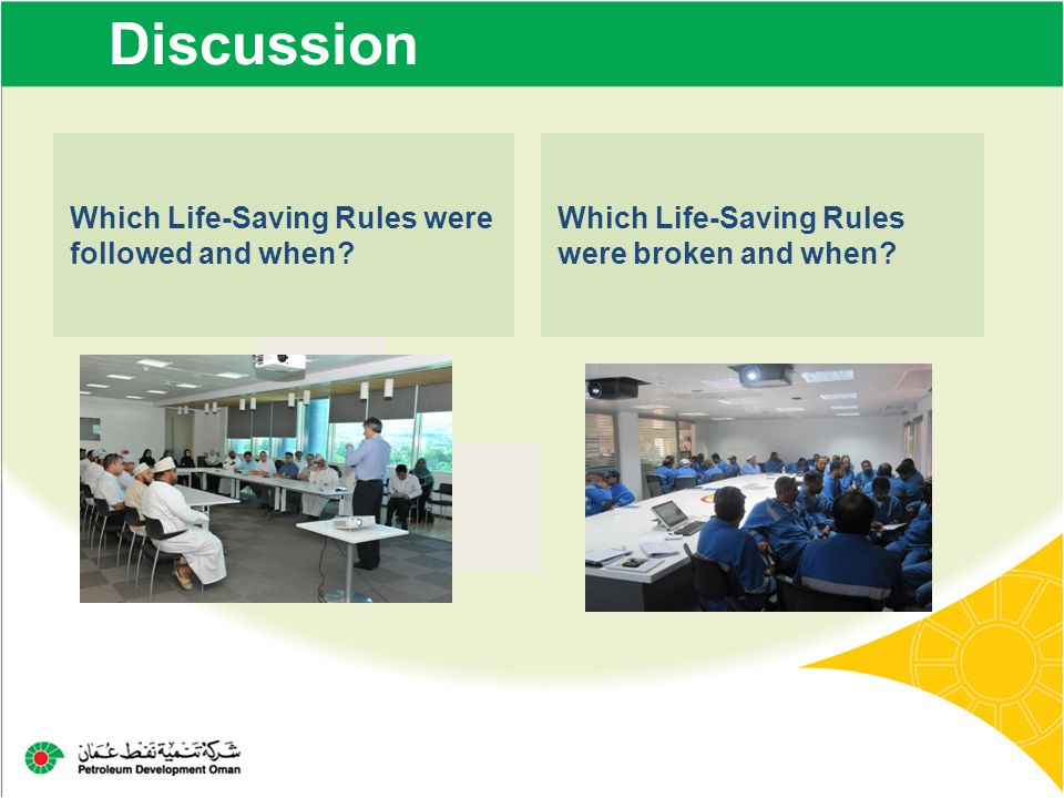 Discussion Which Life-Saving Rules were followed and when