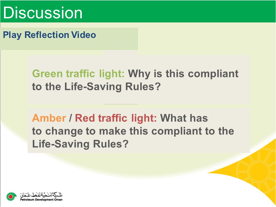 Discussion Play Reflection Video. Green traffic light: Why is this compliant to the Life-Saving Rules